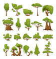 set of abstract stylized trees park vector image