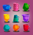 Set of cartoon mugs with cooking utensils vector image vector image