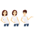 Set of cute girls in white T-shirts vector image vector image