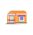 shop building with a red ribbon vector image vector image