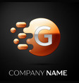silver letter g logo gold dots splash and bubble vector image vector image