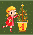 sweet girl decorate a christmas tree vector image