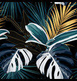 tropical night vintage palm banana plant golden vector image vector image