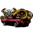 vintage car components collection witn automobile vector image