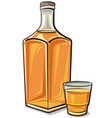 whiskey bottle with a glass vector image vector image
