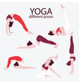 woman yoga set flat bundle female sport exercise vector image vector image