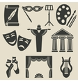 art theater icons set
