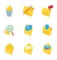 E-mail icons set cartoon style vector image