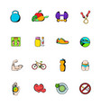 healthy lifestyle icons set cartoon vector image