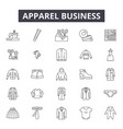 apparel business line icons signs set vector image vector image