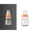 baby bottle mockups with nipples and caps vector image vector image