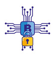 bitcoin cryptocurrency virtual circuit security vector image