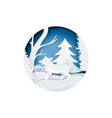 boar in winter forest standing on snow vector image