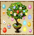 Bonsai decorated with colorful Easter eggs vector image vector image
