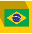 Brazil Flat Icon with Brazilian Flag vector image