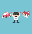 businessman in debt he brings happiness house and vector image vector image