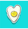 cartoon fried egg smiles in hert shape card vector image vector image
