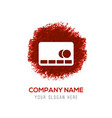 cassette icon - red watercolor circle splash vector image vector image