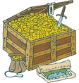 Chest with Gold Coins Treasure Map and Saber vector image vector image