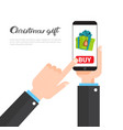 christmas gifts shopping concept hand holding vector image vector image