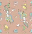 cute seamless patterns with mermaids and sea vector image
