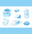 dairy products set sketches vector image