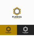flower hexagon logo template vector image