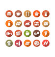 food and drink flat icons set vector image vector image