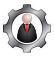 gear piece with a businessman icon vector image vector image