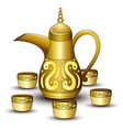 gold teapot cartoon with some cup vector image