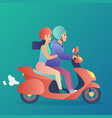 guy and girl couple are riding moto vector image