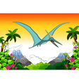 Happy pterodactyl cartoon flying vector image vector image