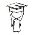 isolated girl with graduation cap design vector image vector image