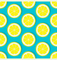 lemon slice seamless pattern on blue background vector image