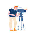 male character videographer or blogger record vector image