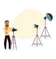 male photographer taking pictures shooting in vector image vector image
