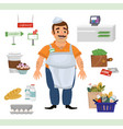 man as cashier counter and supermarket objects vector image