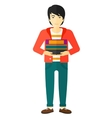 Man holding pile of books vector image