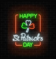 neon glowing clover leaf sign in ireland flag vector image