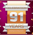 ninety one years anniversary celebration design vector image vector image