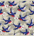 old school seamless pattern with birds and love vector image