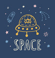 outer space travel poster with hand drawn sketch vector image