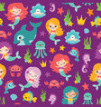 purple mermaids and friends seamless vector image