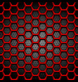 red hexagons texture on dark perforated background vector image vector image