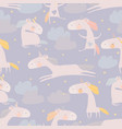 seamless pattern with cute unicorns clouds and vector image
