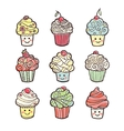 Set of colorful sweet cupcakes isolated on white vector image