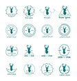 Set of hipster logo with silhouette of deer and vector image vector image
