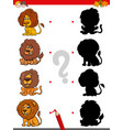 shadow game with funny lion characters vector image vector image