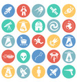 space icons set on color circles background for vector image