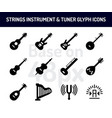 string instrument icon set solid icons base on 48 vector image vector image